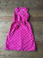80s Vintage Sun Dress Pink Floral Geek Chic Hippie Boho Hippy 12 14 Rockabilly