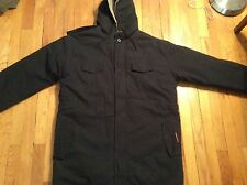 Men's black Nootok military hooded 100% cotton fur-lined coat size M-L
