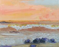 ORANGE WAVE Original Seascape Expression Art Oil Painting 16x20 082618 KEN