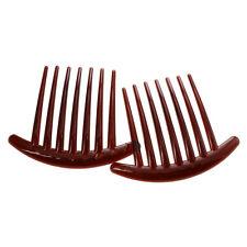 2pcs Hair Comb Pin Accessories Plastic Women Lady Fashion Brown DT