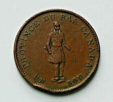 1837 LOWER CANADA (Quebec Bank)  Token Coin - 1/2 Penny (Un Sou) - brown