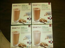 ThinkThin High Protein SMOOTHIE MIX Peanut Butter Banana, 4 BOXES (16 Packets)