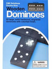 CNH Double 9 Dominoes Black With White Dots Wooden Dominoes 55 Pcs