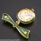 Berney 3951 Green  ~ Gold Plated Quartz Brooch watch