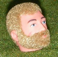 VINTAGE ACTION MAN 40th REPLACEMENT HEAD -  FLOCKED - BEARDED - BLONDE HAIR