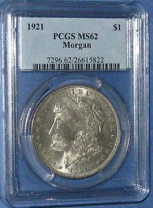 Coinhunters-1921 Morgan Silver Dollar PCGS  MS62 + GEM Uncirculated  SCARCE #393