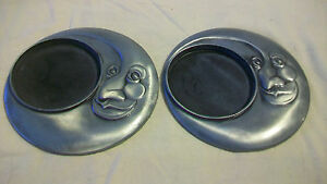 PAIR OF LUMINESSENCE METAL VOTIVE CANDLE HOLDERS, MOON DESIGN