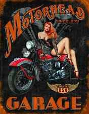 "TIN SIGN - "" LEGENDS- Motor head Garage Since 1939 "" Harley Motorcycles METAL"
