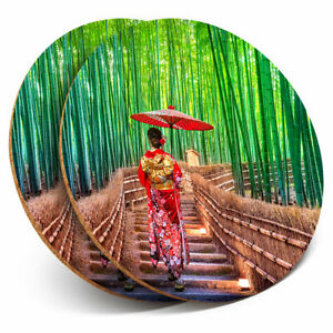 2 x Coasters - Bamboo Forest Japanese Woman Home Gift #21183
