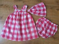 Jacadi***Ensemble Robe/Dress+bloomer+bandeau 6 mois 67cm Vichy rose et blanc