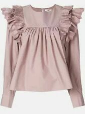 f4a427d982a Etoile Isabel Marant Matias Ruffled Broderie Anglaise Trim Blouse 38 Grey  Pink