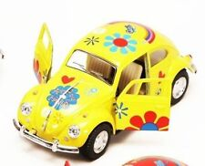 "New 5"" Kinsmart 1967 Volkswagen Beetle Flowers Decal Diecast Model 1:32 Yellow"