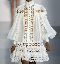 2019 Womens Designer Inspired Crochet  High Neck French Style Blouse Vest  2 Pcs