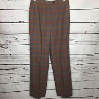 Vintage Pendleton Womens 14 Virgin Wool Pants Windowpane Plaid Gray Orange K84