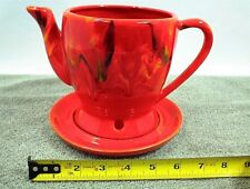 "VINTAGE RED TEAPOT PLANTER 3414 USA CAL 6"" TALL cracked Tea Pot"