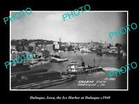 OLD LARGE HISTORIC PHOTO OF DUBUQUE IOWA, VIEW OF THE TOWN & HARBOR c1940 1