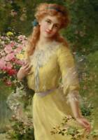 Lady in Yellow Arm Full of Roses  by Emile Vernon