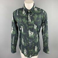 OSKLEN Size S Navy & Green Print Cotton Button Up Long Sleeve Shirt