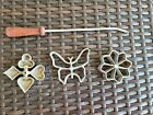 1975 Vintage Hirco Party Patty Waffle Rosette Molds Set of 3 + Handle