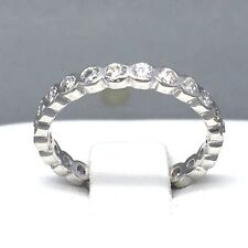 "BEAUTIFUL STERLING SILVER CUBIC ZIRCON *FULL ETERNITY* LADIES RING SIZE ""M"" 1897"