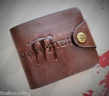 Monster faux Brown Leather Bi-Fold Wallet - Biker / Skater Urban Bling