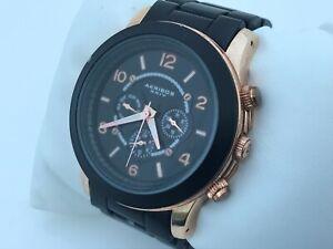 Akribos XXIV Ladies Watch Black Gold Tone Multi Functiona Wrist Watch WR 3 ATM