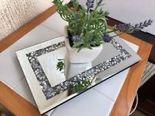 28*17cm JEWELED DIAMANTE MIRRORED CANDLE PLATE  WEDDING TABLE TRAY RECTANGULAR