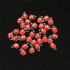 Jewelry Gold Tone Red Enameled Ladybug Alloy Charms Jewelry Accessories DIY.