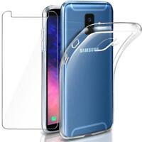 Full Cover Panzerfolie Samsung A6 2018 + Handy Hülle Silikon Case Schutz 9H Glas