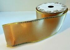 """Trimsetter Dillard's Burnished Gold, Gold Edged Wired Ribbon 3"""" x 15' New in Pkg"""