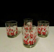 4 Vtg Georges Briard Christmas Santa Claus with Reindeer 4� Rocks Glasses Lot 2
