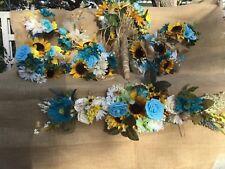 Wedding flowers bridal bouquets decorations sunflowers TURQUOISE 28 pc
