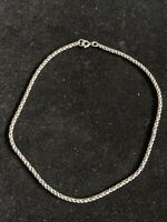 Vintage Estate Silver Tone Rope Choker Chain Necklace