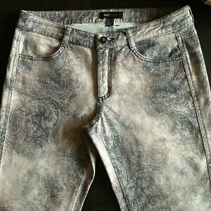 MNG Casual Slim Stretch Jeans Sz 6 Muted Gray & Pink Paisley
