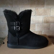 UGG Renley Black Water-resistant Leather Buckle Short Boots Size US 9 Womens