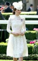 Alexander McQueen Lace Embroidered Wedding Ivory Peplum Royal Dress US 2 / IT 38