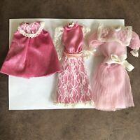 LOT 3 VTG 80s Mattel Barbie Heart Family Mom Original Outfits Dresses Maternity