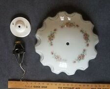 Vintage white glass ceiling light shade w/ 3-bulb fixture floral & ruffled edge