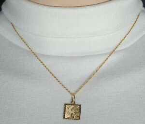 """Genuine 18k/750 Solid Gold Thin Rope Chain with Square Religious Pendant 18"""""""