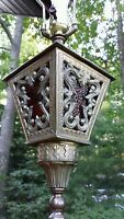 VTG Ornate Victorian Brass Wood Table Lamp  Stained Glass Heyco Electric Light