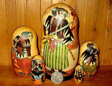 Russian nesting dolls 5 japon samurai warriors Petrushina signé matryoshka cadeau
