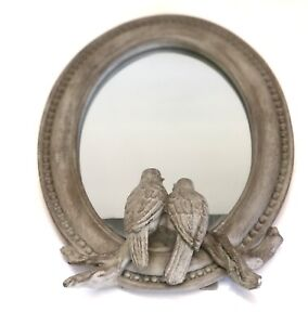 "Raz Imports 9"" Vintage Style Birds Oval mirror, Country French, Shabby Chic NWT"
