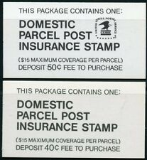 United States Complete Domestic Parcel Post Insurance Stamp Booklets 40c & 50c