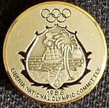 "1988 Seoul Olympics NOC Liberia Dated silver team member's pin ""Bertoni Milano"""