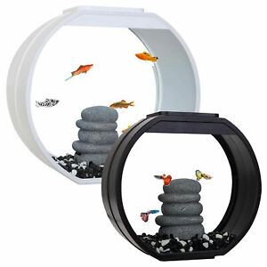 Fish R Fun Deco Mini Fish Tank 10L / 20L Aquarium LED Lighting Black / White
