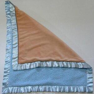 Blankets Beyond Blue Microfiber Blanket Tan Brown Satin 34 x 28 Stroller Baby