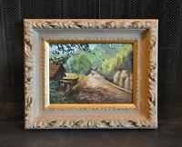 Vintage Impressionist Oil Painting - Country Road Village Landscape
