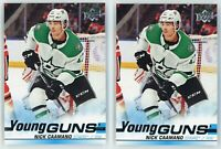 2019-20 SP Authentic Upper Deck Update #518 Young Guns Nick Caamano 2 Card Lot