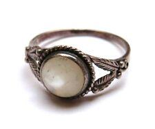 Vintage Sterling Silver & White Stone Ring - UK Size I & 1/2