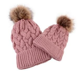 2pcs Baby Adult Winter Warm Knit Hat Family Matching Hairball Cap (Pink) *DC